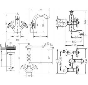 Набор смесителей для ванны и кухни GENEBRE NRC, 04NRC-bath
