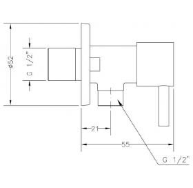 Угловой вентиль GENEBRE Tau Angle12, 3104 05