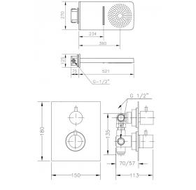 Набор для душа скрытого монтажа GENEBRE с термостатом, termo1643