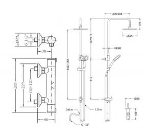 Душевая система с термостатом GENEBRE TAU (67112144567+174545), T671121745