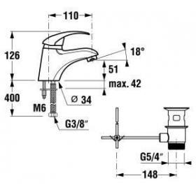 Однорычажный смеситель для раковины JIKA LYRA, H3112710040001