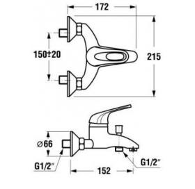 Смеситель для ванны и душа JIKA OLYMP, настенный монтаж, 3.2161.7.004.000.1