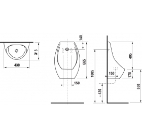 Писсуар керамический Jika DOMINO, с сенсорным датчиком, питание от сети, H8411010004871