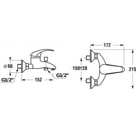 Смеситель для ванны-душа, настенный JIKA LYRA, настенный монтаж, H3212770040001