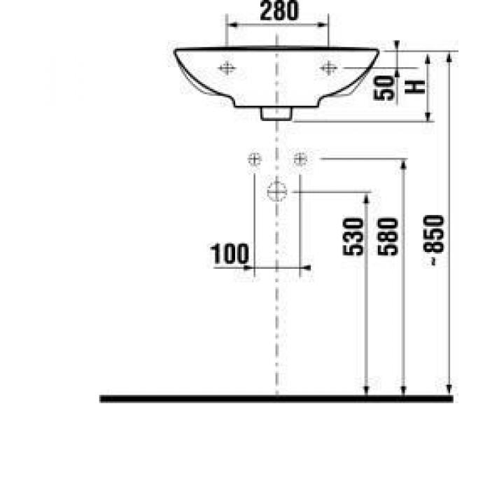 Раковина подвесная Jika MIO, 60 см с отверстием, 8.1071.3.000.104.1
