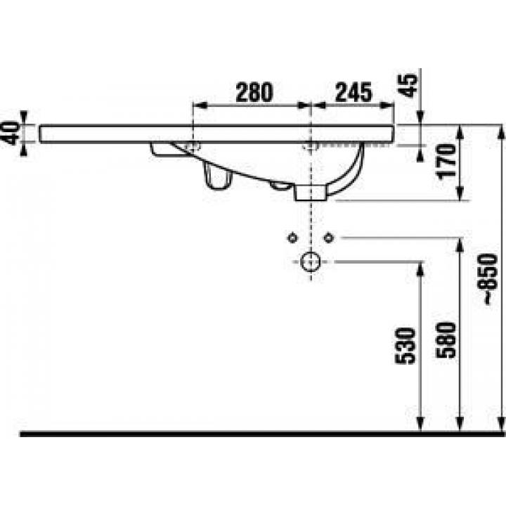 Раковина подвесная Jika TIGO, 80 см с отверстием, правосторонняя, H8122180001061