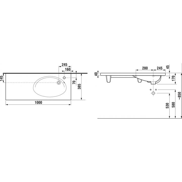 Раковина подвесная Jika TIGO, 100 см с отверстием, правосторонняя, H8122190001061