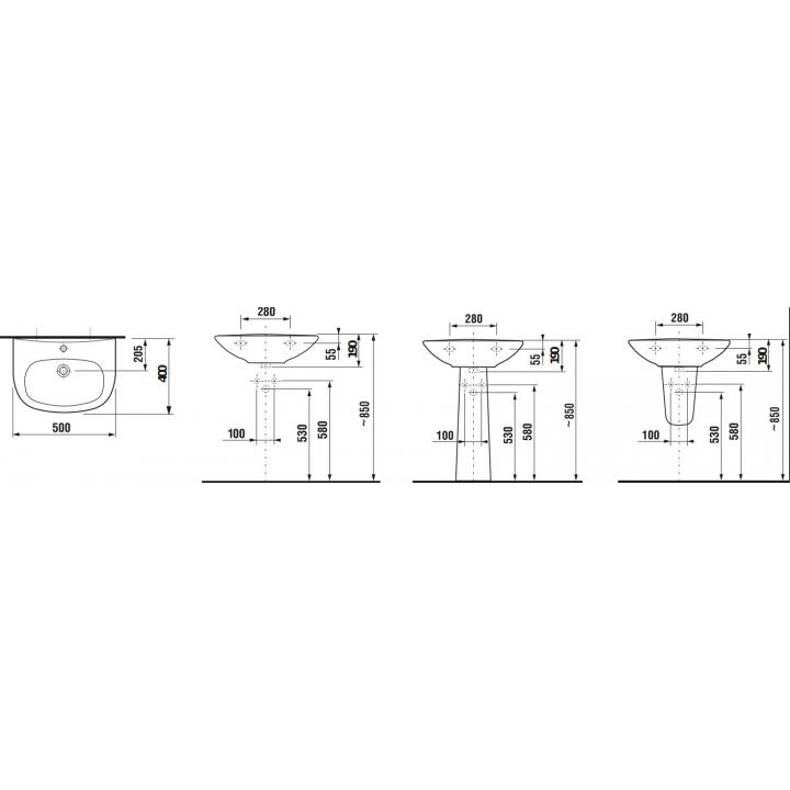 Раковина подвесная Jika ZETA, 50 см с отверстием, H8103900001041