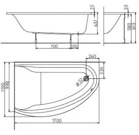 Ванна акриловая KOLO Mirra 170 XWA3371000 левосторонняя + ножки SN8