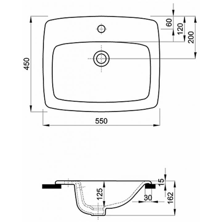 Раковина Kolo NOVA PRO 55 см, на столешницу, с отверстием и переливом, M31856000