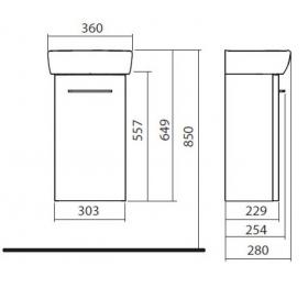 Комплект Kolo Nova Pro умывальник 36 см + шкафчик белый глянец, M39001000