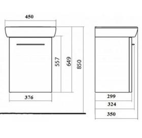 Комплект Kolo Nova Pro умывальник 45 см + шкафчик белый глянец, M39024000