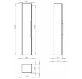 Пенал Kolo TRAFFIC 45 см, серый дуб, 88472000