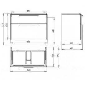 Тумба для раковины Kolo TRAFFIC 90 см с двумя ящиками, серый дуб, 89527000