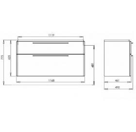 Тумба для раковины Kolo TRAFFIC 120 см, серый дуб, 89528000
