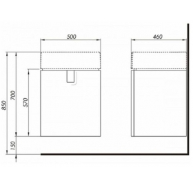 Тумба для раковины Kolo Twins 50 см с дверцей, белый глянец, 89483000