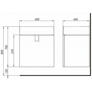 Тумба для раковины Kolo Twins 60 см с дверцей, черный матовый, 89488000