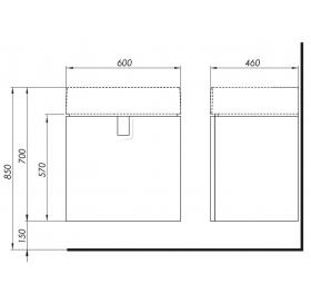 Тумба для раковины Kolo Twins 60 см с одним ящиком, белый глянец, 89498000
