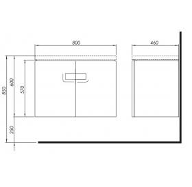 Тумба для раковины Kolo Twins 80 см с дверями, белый глянец, 89547000