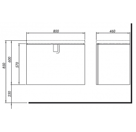 Тумба для раковины Kolo Twins 80 см с одним ящиком, серебряный графит, 89551000