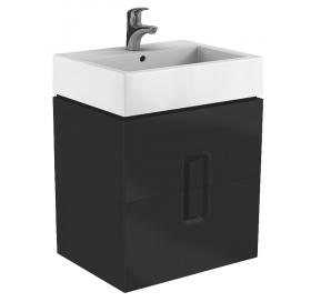 Тумба для раковины Kolo Twins 80 см с двумя ящиками, черный матовый, 89555000