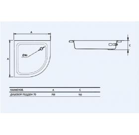 Душевой поддон Koller Pool Aquart 70x70 C00C1200E