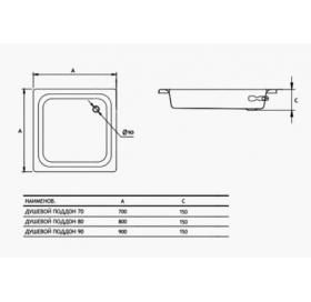 Душевой поддон Koller Pool Aquart без антислипа 90x90 C0901200E