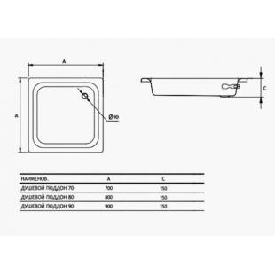 Душевой поддон Koller Pool Aquart 80x80 CF801200E