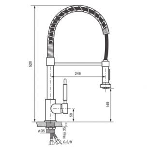 Смеситель кухонный KOLLER POOL Design Plus, с выдвижной лейкой, DS0700