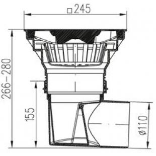 Трап уличный  двухкорпусный  MCH 329S с чугунной решеткой