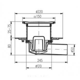 Двухкорпусный трап MCH 382E  для балконов и террас 150х150