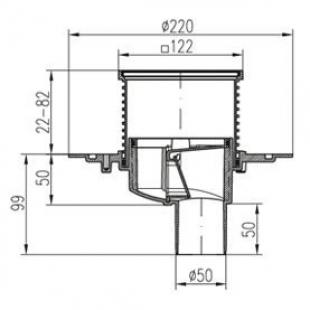 Двухкорпусный трап MCH 384A  для балконов и террас 122х122