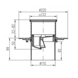 Двухкорпусный трап MCH 386A  для балконов и террас 122х122