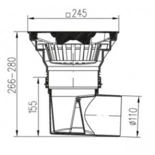 Трап уличный двухкорпусный MCH 330Sz  с пластиковой решеткой и болтовым креплением