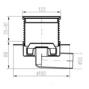 Трап MCH 425L двухкорпусный трап с горизонтальним подключением