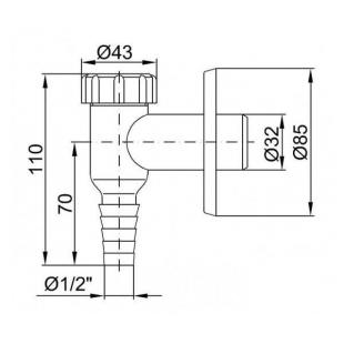 Внешнее подключение к  стиральной машине к канализации D32 хром  CH-529-K