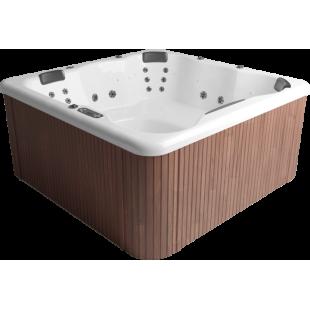 Мини-бассейн PoolSPA Katalina 193x193 с панелью из красного дерева, нагреватель 2x3 кВт, хромотерапи