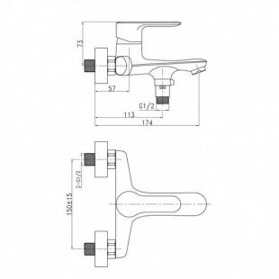 Смеситель для ванны Qtap Astra CRM 006