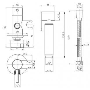 Набор для гигиенического душа Q-tap Inspai-Varius V00440001 BLA скрытого монтажа
