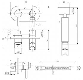 Набор для гигиенического душа Qtap Inspai-Varius V00440501 CRM