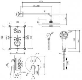 Комплект скрытого монтажа Qtap Inspai-Varius CRM V20940102 на 2 выхода