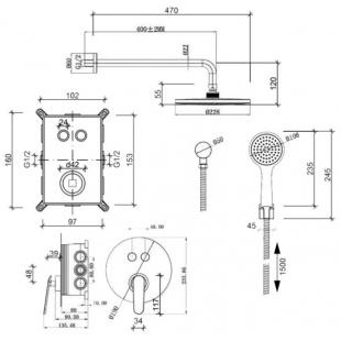 Комплект скрытого монтажа Q-Tap Inspai-Varius CRM V20940102 на 2 выхода