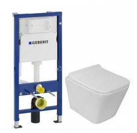 Комплект: Инсталляция Geberit DuofixBasic 2в1 (458.103.00.1) + Унитаз подвесной Rostriks UNO Corta укороченный безободковый с сидением дюропласт soft-
