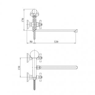Смеситель для ванны Touch-Z Mayfair 146, TZMAY146