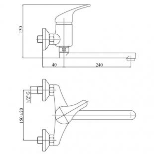 Смеситель для кухни настенный Touch-Z Premiera-35 009, TZPRE35009