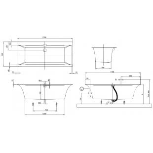 Ванна VILLEROY&BOCH SQUARO EDGE 12  170*75 см UBQ170SQE2DV-01