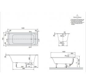 Ванна VILLEROY&BOCH OMNIA ARCHITECTURA 140*70см, BA147ARA2V-01