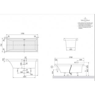 Ванна прямоугольная VILLEROY&BOCH SQUARO 170*75см, в комлпекте с ножками, UBQ170SQR2V-01