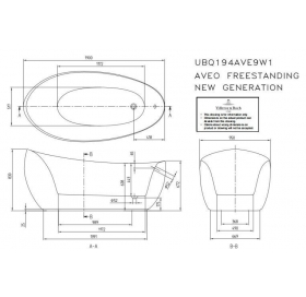 Ванна VILLEROY&BOCH AVEO 190*95см отдельно стоящая (без швов + слив перелив) UBQ194AVE9W1V-01