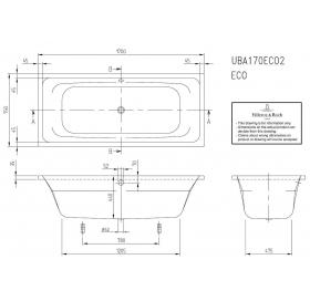 Ванна VILLEROY&BOCH  TARGA STYLE 170/70 см, UBA177FRA2V-01
